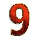 Number nine in fiery red. Number 9 in fiery red & gold isolated on white series Royalty Free Stock Photo