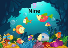 Number nine fish under the sea vector. Illustration of number nine fish under the sea vector Royalty Free Stock Photos