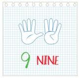 Number nine on hand gesture vector illustration