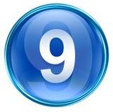 Number nine icon blue. Number nine icon blue, isolated on white background Stock Image
