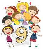Number nine. Illustration of a flashcard number nine Royalty Free Stock Photos