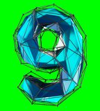 Number 9 nine in low poly style blue color isolated on green background. 3d. Rendering Royalty Free Illustration