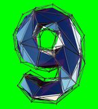 Number 9 nine in low poly style blue color isolated on green background. 3d vector illustration