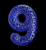 Number 9 nine made of blue plastic with abstract holes isolated on black background. 3d. Rendering Stock Photos