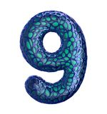 Number 9 nine made of blue plastic with abstract holes isolated on white background. 3d. Rendering Stock Photos