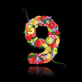 Number nine made from fruits. Stock Images