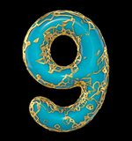 Number nine 9 made of golden shining metallic with blue paint isolated on black 3d royalty free illustration