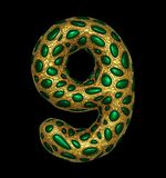Number 9 nine made of golden shining metallic 3D with green glass isolated on black background. 3d rendering stock illustration