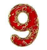Number nine 9 made of golden shining metallic with red paint isolated on white 3d. Rendering Vector Illustration