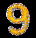 Number nine 9 made of golden shining metallic with yellow paint isolated on black 3d. Rendering royalty free illustration