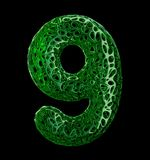 Number 9 nine made of green plastic with abstract holes isolated on black background. 3d. Rendering stock illustration