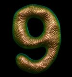 Number 9 nine made of natural gold snake skin texture isolated on black. 3d rendering stock illustration