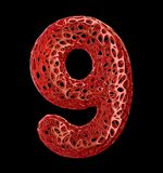 Number 8 nine made of red plastic with abstract holes isolated on black background. 3d. Rendering vector illustration