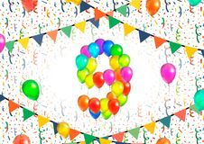 Number nine made up from colorful balloons on white background with confetti. Number nine made up from bright colorful balloons on white background with confetti Royalty Free Stock Images