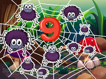 Number nine with nine spiders on web. Illustration of Number nine with nine spiders on web Stock Image