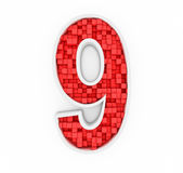 Number nine from red cubes Royalty Free Stock Photos