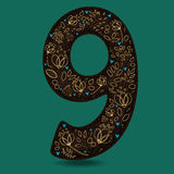 Number Nine with Romantic Golden Floral Decor. Royalty Free Stock Photos