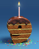 Number nine shaped birthday cake Stock Photography