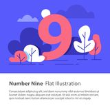 Sequential number, number nine, top chart concept, night sky, flat illustration. Number nine, top chart concept, sequential number, night sky, park trees, vector Royalty Free Stock Photography