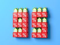 Number Ninety Five With Miniature Houses And Red Percentage Blocks. 3d Illustration royalty free illustration
