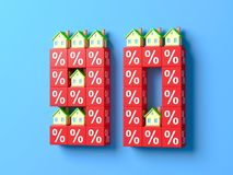 Number Ninety With Miniature Houses And Red Percentage Blocks. 3d Illustration vector illustration