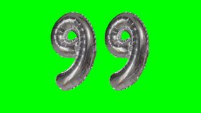 Number 99 ninety nine years birthday anniversary silver balloon floating on green screen -. Number 99 ninety nine years birthday anniversary silver balloon stock video
