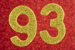 Number ninety-three yellow color over a red background. Annivers stock images