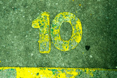 Number10 no cimento Fotografia de Stock Royalty Free