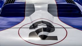 Race car number 2 details. The number 2 on the nose of a vintage classic racing sports car Royalty Free Stock Images