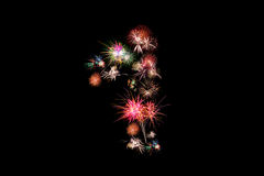 Number 1. Number alphabet made of real fireworks.  Royalty Free Stock Images
