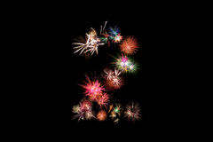 Number 2. Number alphabet made of real fireworks.  Royalty Free Stock Images