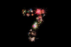Number 7. Number alphabet made of real fireworks.  Stock Photo