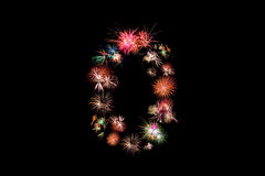 Number 0. Number alphabet made of real fireworks.  Royalty Free Stock Image