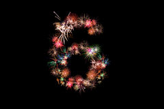 Number 6. Number alphabet made of real fireworks. See other numb. Ers in my portfolio Royalty Free Stock Photos