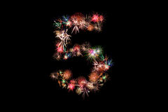 Number 5. Number alphabet made of real fireworks. See other numb. Ers in my portfolio Stock Photo