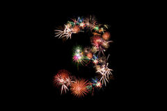 Number 3. Number alphabet made of real fireworks. Royalty Free Stock Images
