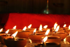 Number of oil lamps lit, festival concept Stock Image