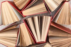 Number of old books. Used hardback books. View from above. Number of old books. Used hardback books. Education background. Top view royalty free stock images