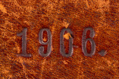 Number on old leather Stock Image