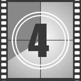 4 from old movie count down. Number 4 from old movie count down, four. Film countdown number. Vector illustration EPS 10 Stock Photos