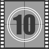 10 from old movie count down. Number 10 from old movie count down, ten. Film countdown number. Vector illustration EPS 10 Stock Images
