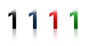 Number one - 1. Four color versions of number one 1, with glassy look and reflections stock illustration