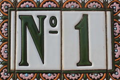 Number One 1 Green White Pink Colorful Design House Number Plate In Spain Best Winner First Price Win Stock Image
