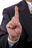 Number One. Gesture with hand on business suit Stock Images
