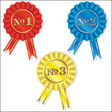 Number one. Isolated red, blue and yellow symbols of competition winners Stock Photos