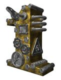 Number one. Steampunk number one on white background - 3d illustration Stock Image