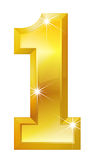 Number One. Golden number one. Could be used to present number one product or first place and similar Royalty Free Stock Images