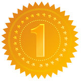 Number one. Golden token illustration Royalty Free Stock Photo