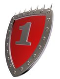 Number one. Shield with the number one - 1 -  on white background - 3d illustration Stock Image