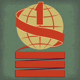 Number One. Worlds number one symbol with planet earth and red ribbon retro illustration stock illustration